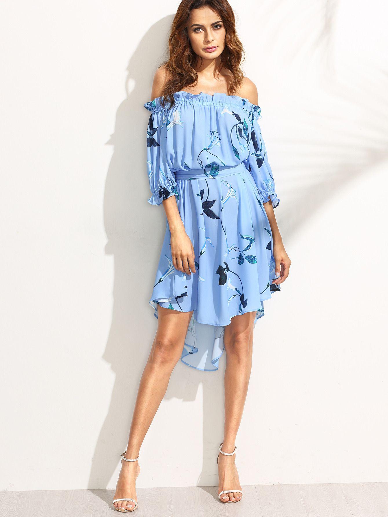 dd1d9d2c26 Shop Multicolor Print Off The Shoulder High Low Dress online. SheIn offers  Multicolor Print Off The Shoulder High Low Dress & more to fit your…