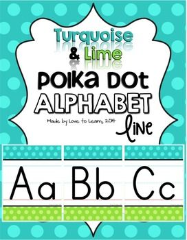 Love the combo of green and blue and looking for a simple way to display the alphabet in your classroom? Try this Alphabet Line in Turquoise & Lime Polka Dot.