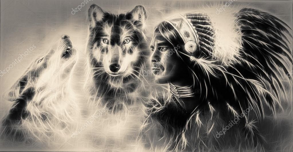 A Beautiful Airbrush Painting Of An Young Indian Warrior Accompanied With Two Wo Affiliate Painting Animal Spirit Guide Air Brush Painting Spirit Animal