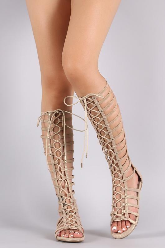 5ece182b2f2 Bamboo Shimmer Strappy Studded Lace-Up Gladiator Sandal  GladiatorSandals