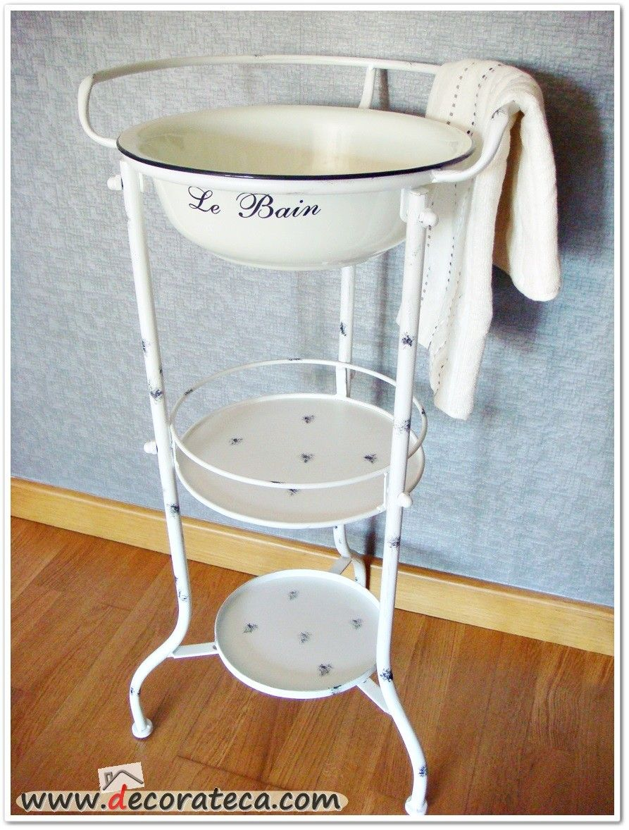 Mueble con palangana retro vintage de metal en color for Mueble lavabo vintage