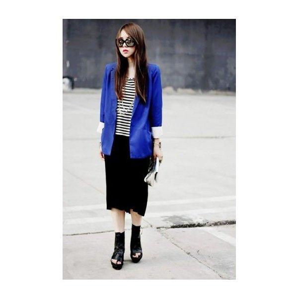 Brief Style Royal Blue Blazer [NCSUZ0039] - $89.99 : found on Polyvore