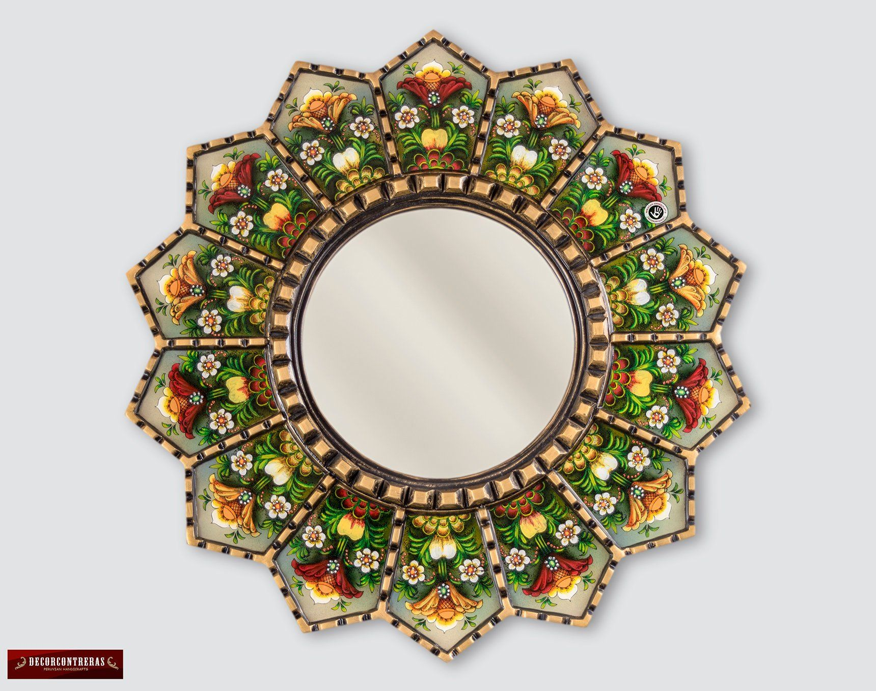 Peruvian Luxury Round Mirror 23 6 Wall Hanging Round Mirrors