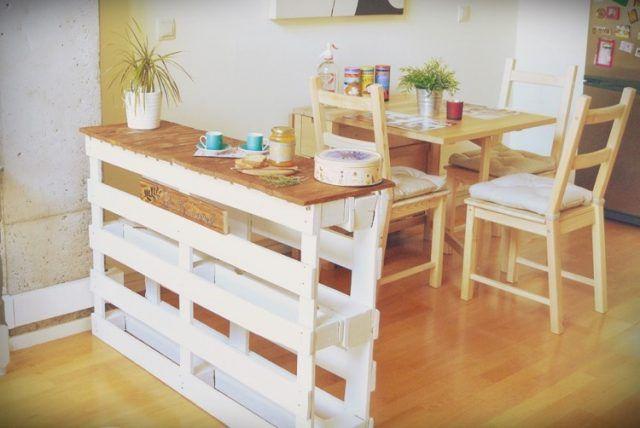 Îlot Central En Palette Idées DIY Pour Customiser Sa Cuisine - Table salle a manger en palette pour idees de deco de cuisine