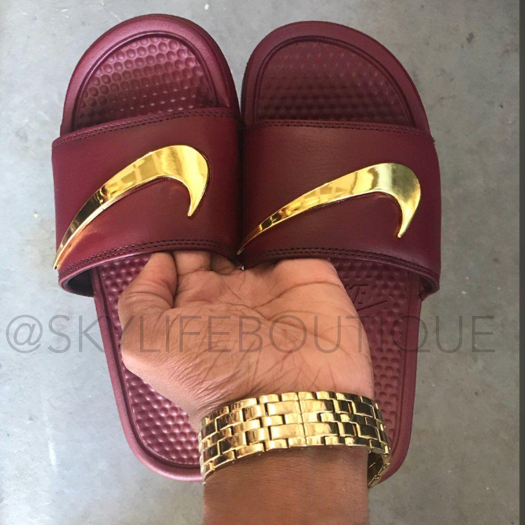 "Nike Benassi ""Burgundy"" Golden Check"