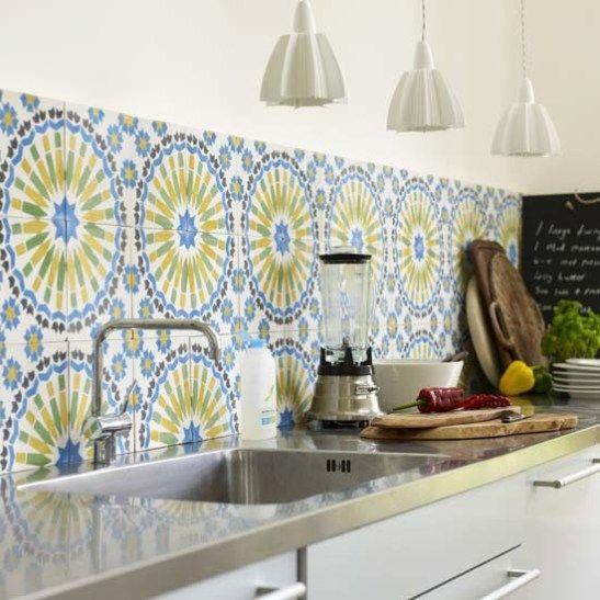Mediterranean tiles backsplash Painted tile and ceramic