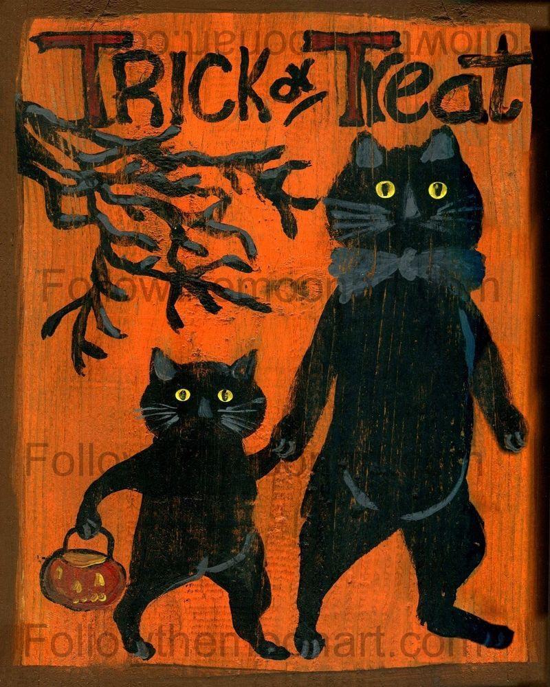 Details about Trick or Treat Primitive Vintage Look Black
