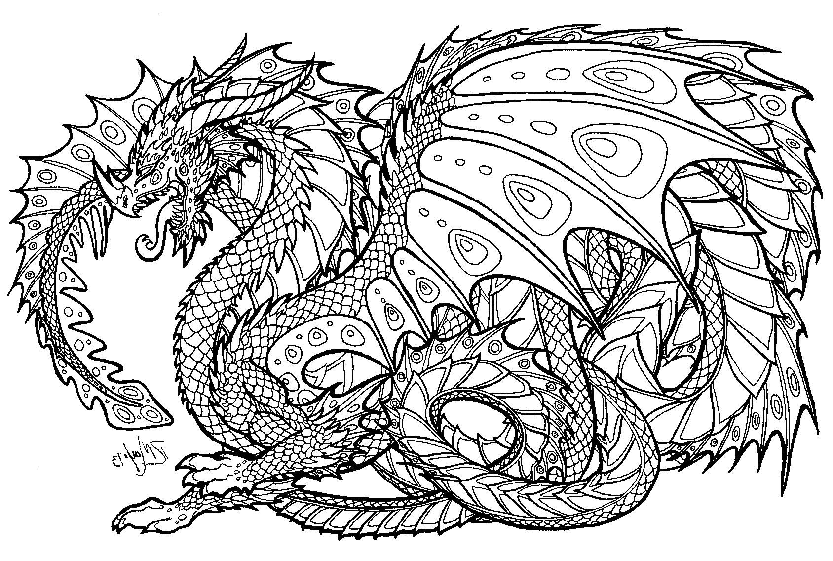 - Dragon Coloring Pages For Adults (With Images) Dragon Coloring