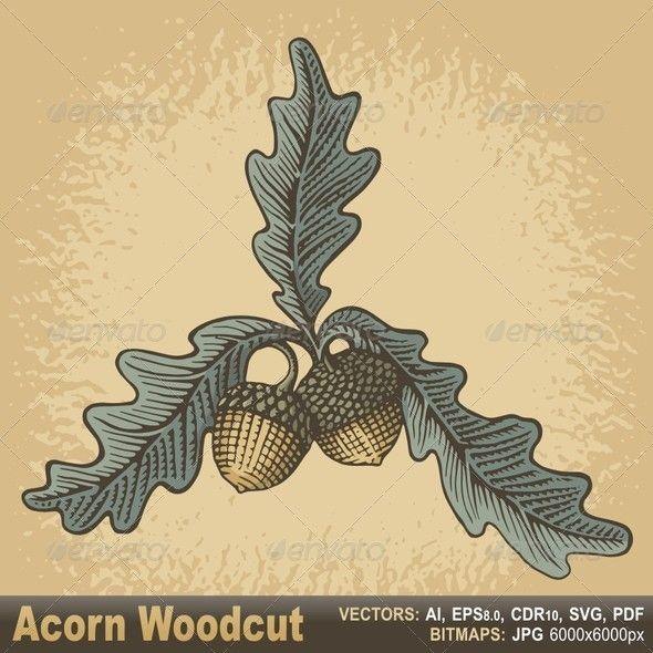 Acorn Woodcut With Images Woodcut Illustration Woodcut Leaf