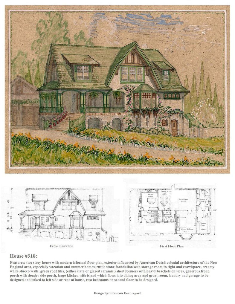 Watercolor perspective drawing front elevation and first for Watercolor house plans