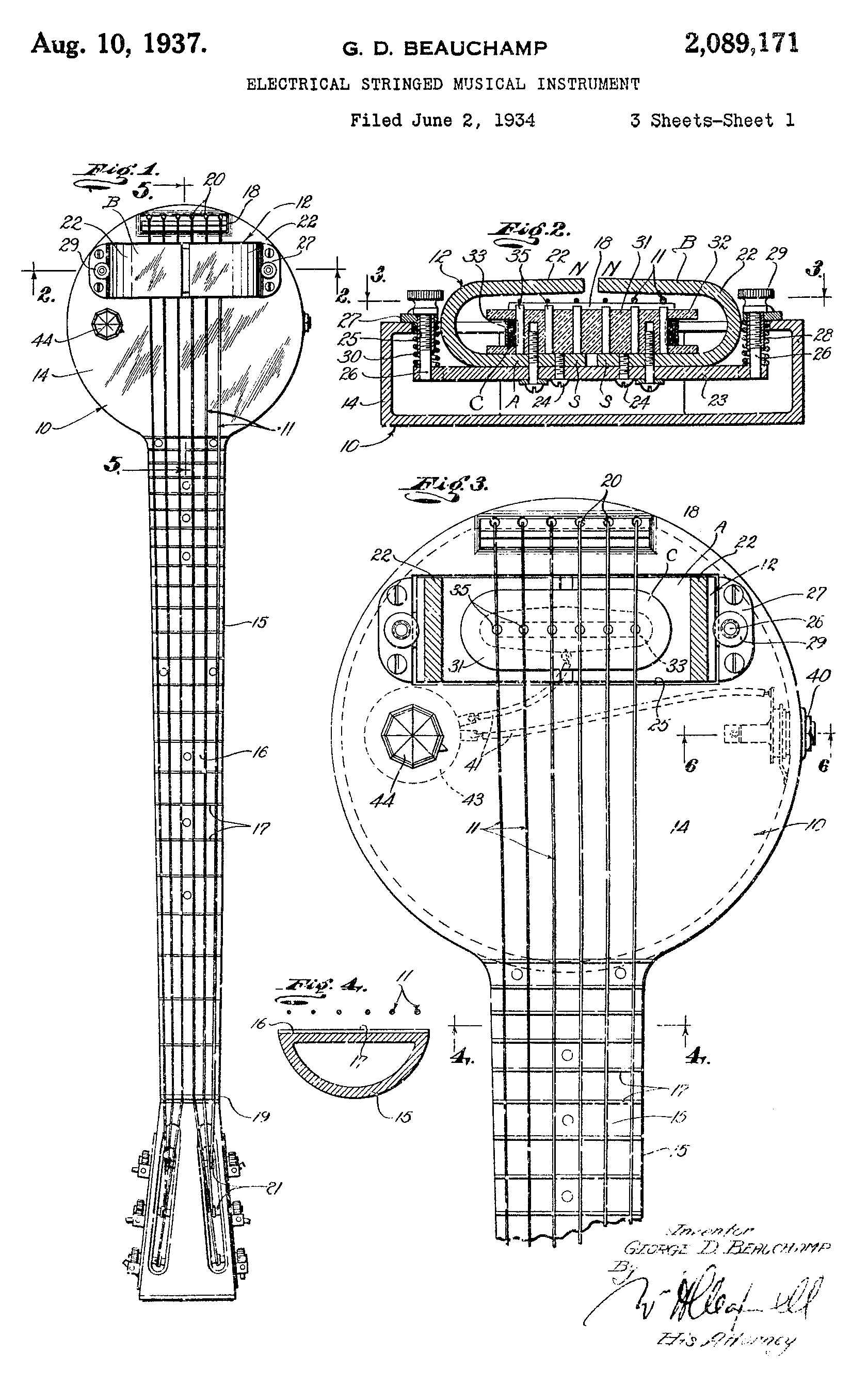 1937 First Patent For An Electric Guitar Pickup Soul Changers In Electra Wiring Diagram