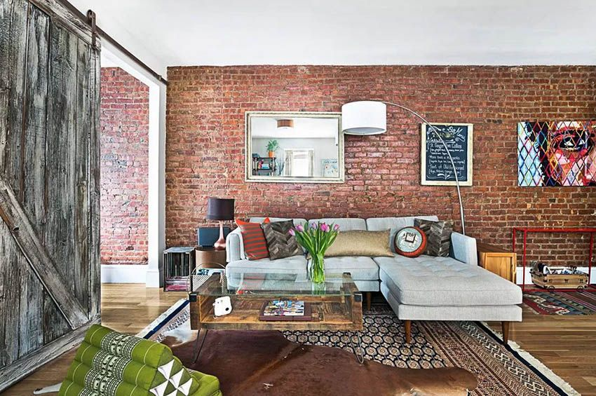 Exposed Brick Wall Living Room Design Ideas In 2020 Red Brick