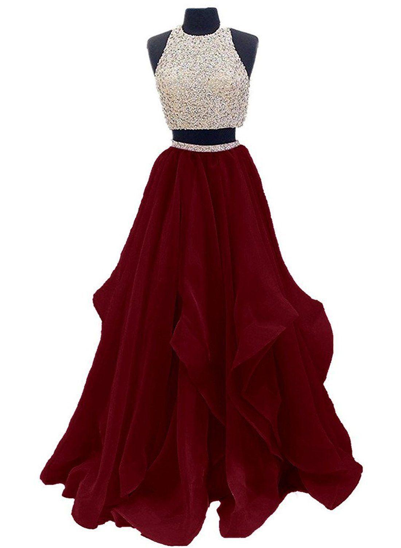 Dressytailor 20 Two Piece Floor Length Organza Prom Dress Beaded