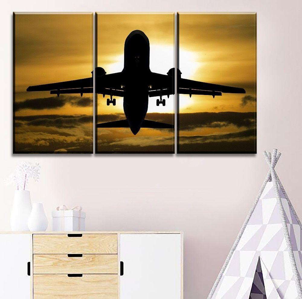 Sun Landscape Cloud Black Shadow Airplane 3 Pieces Canvas Wall Art Canvas Wall Art Wall Art Art