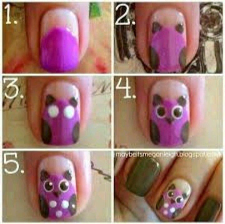Owl Nail Design Step By Step Naildesigns Pinterest Owl Nail
