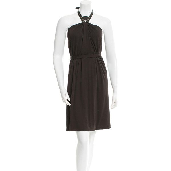 Pre-owned Gucci Halter Knee-Length Dress ($145) ❤ liked on Polyvore featuring dresses, brown, brown cocktail dress, brown dress, halter dress, preowned dresses and halter neckline dress