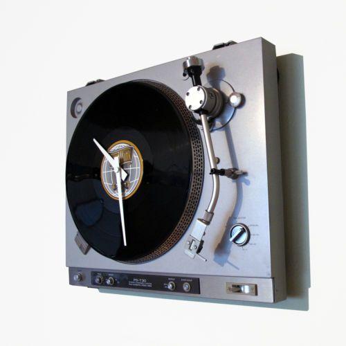 Wanduhr-Plattenspieler-Moderne-Wohnzimmer-Uhr-Unikat-Besonderes