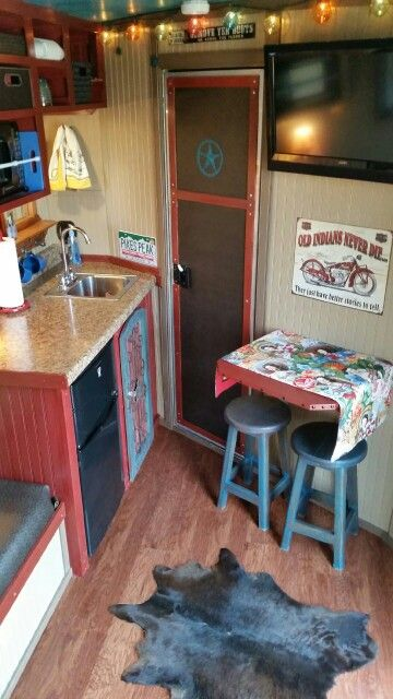 This Is The Awesome Horse Sleeper Trailer My Mom Renovated Door Goes To Sho Horse Trailer Living Quarters Horse Trailer Organization Trailer Remodel