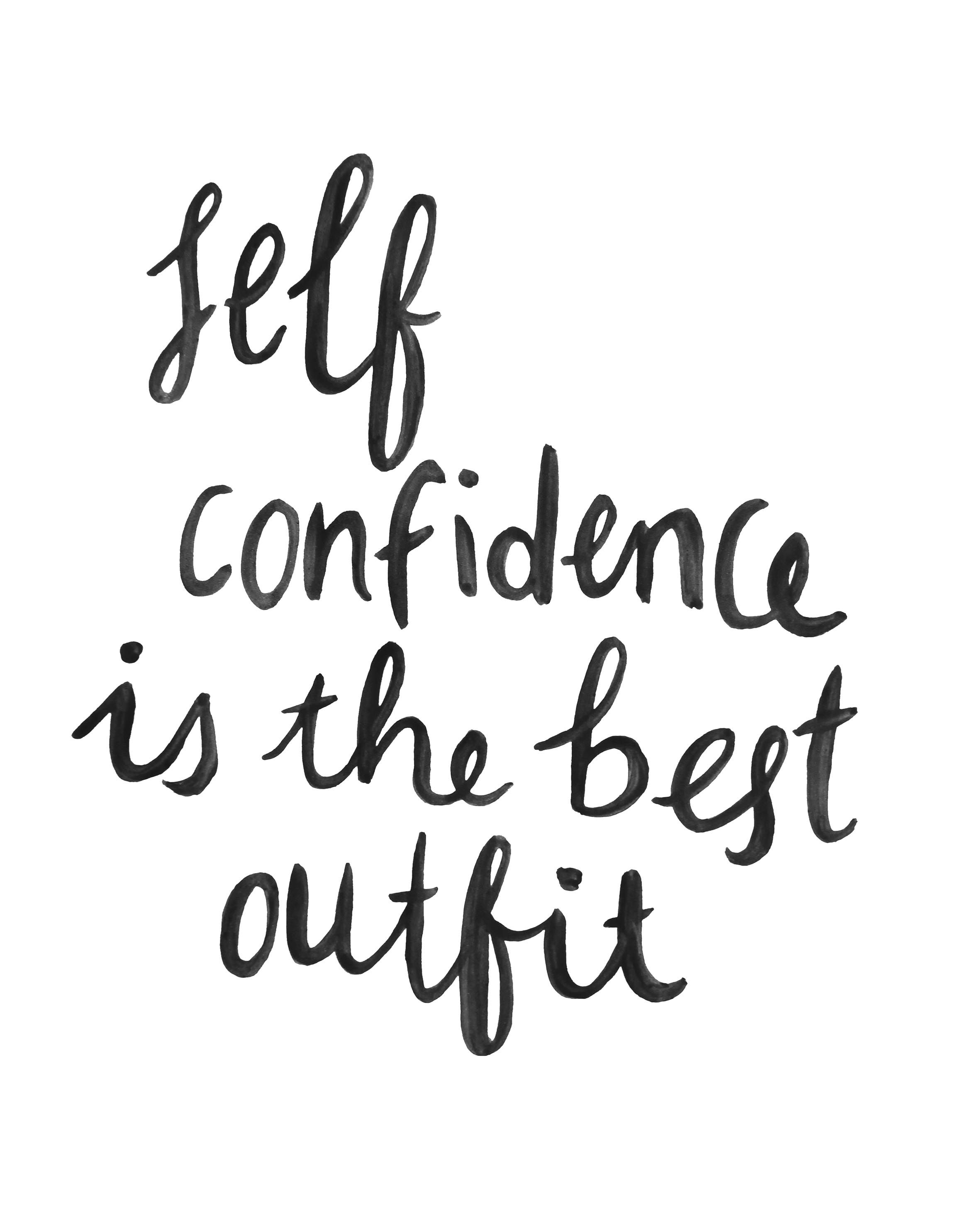 Cute quote print self confidence add to cart · cute quote print brush script hand lettering black white