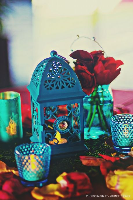 Turquoise Amp Red Cocktail Centerpiece With Moroccan