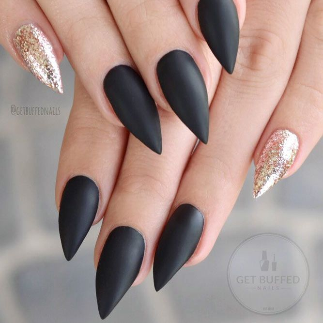25 Fearless Combinations With Black Stiletto Nails | Nails ...