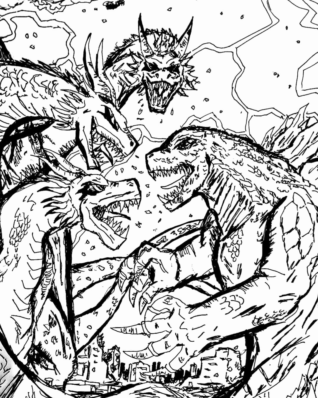 King Ghidorah Coloring Pages New Letthemfight Instagram S And Videos Coloring Pages Color Artwork [ 1349 x 1079 Pixel ]