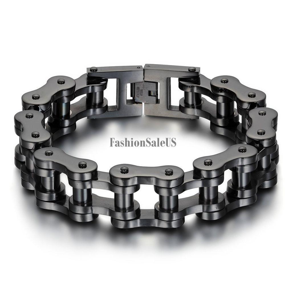 Mens Stainless Steel Biker Bracelet Heavy Wide Silver Tone Mechanical Link Chain Stainless Steel Bracelet Men Black Stainless Steel Bracelet Biker Bracelet
