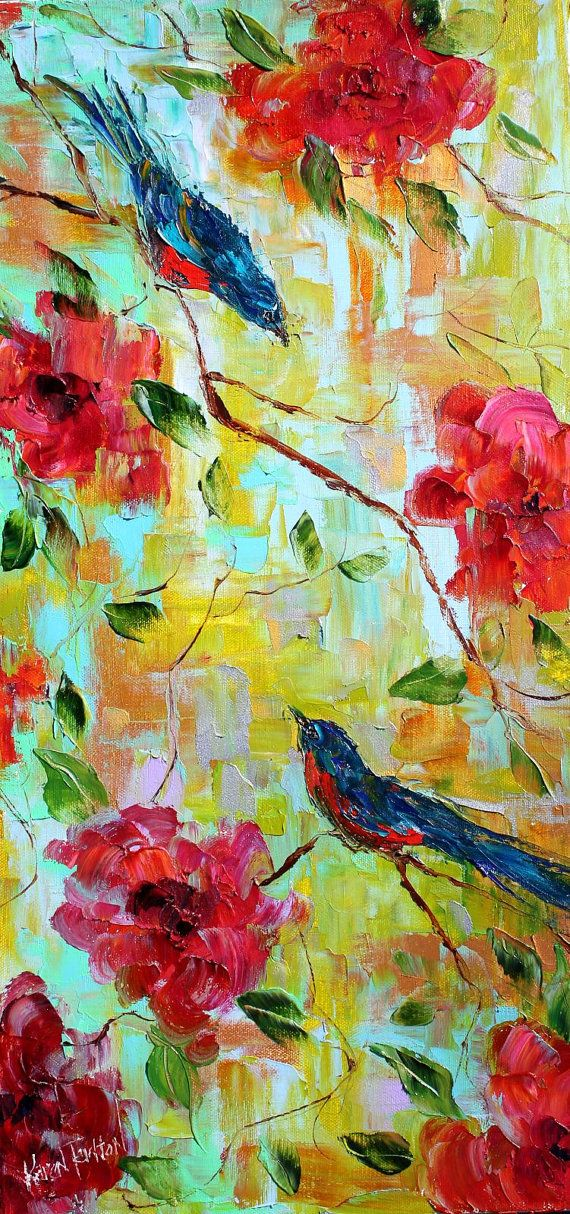 Original oil painting Spring Love Birds and by Karensfineart