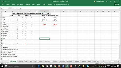self employed 2017 2018 simple accounts spreadsheet