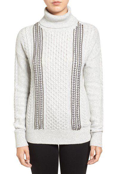 Halogen® Halogen® Embellished Cable Knit Turtleneck Sweater (Regular & Petite) available at #Nordstrom