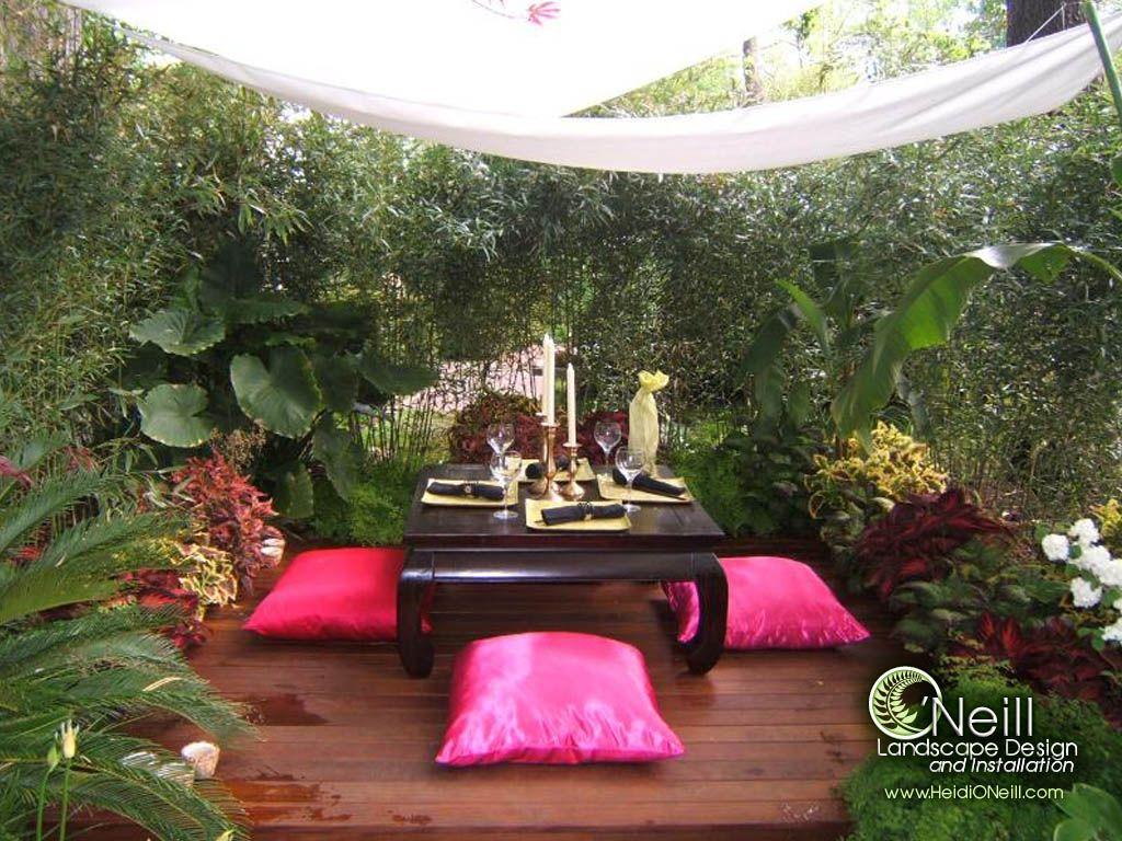Peaceful seating area gardens pinterest gardens for Thai garden design pictures