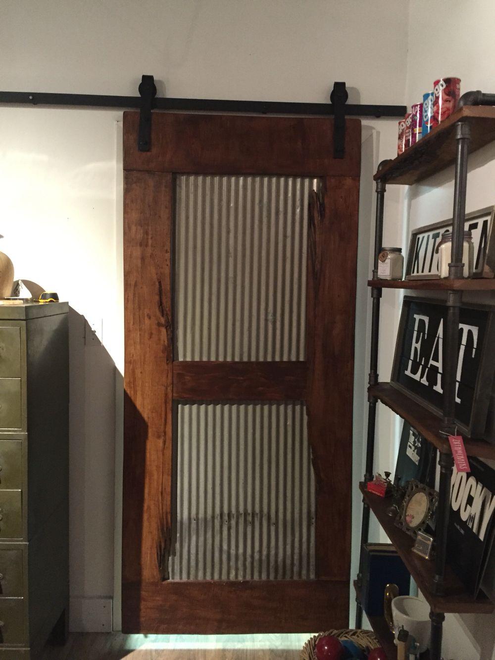 Reclaimed Wood And Old Galvanized Metal Barn Door We Made Metal Doors Design Barn Door Designs Interior Barn Doors