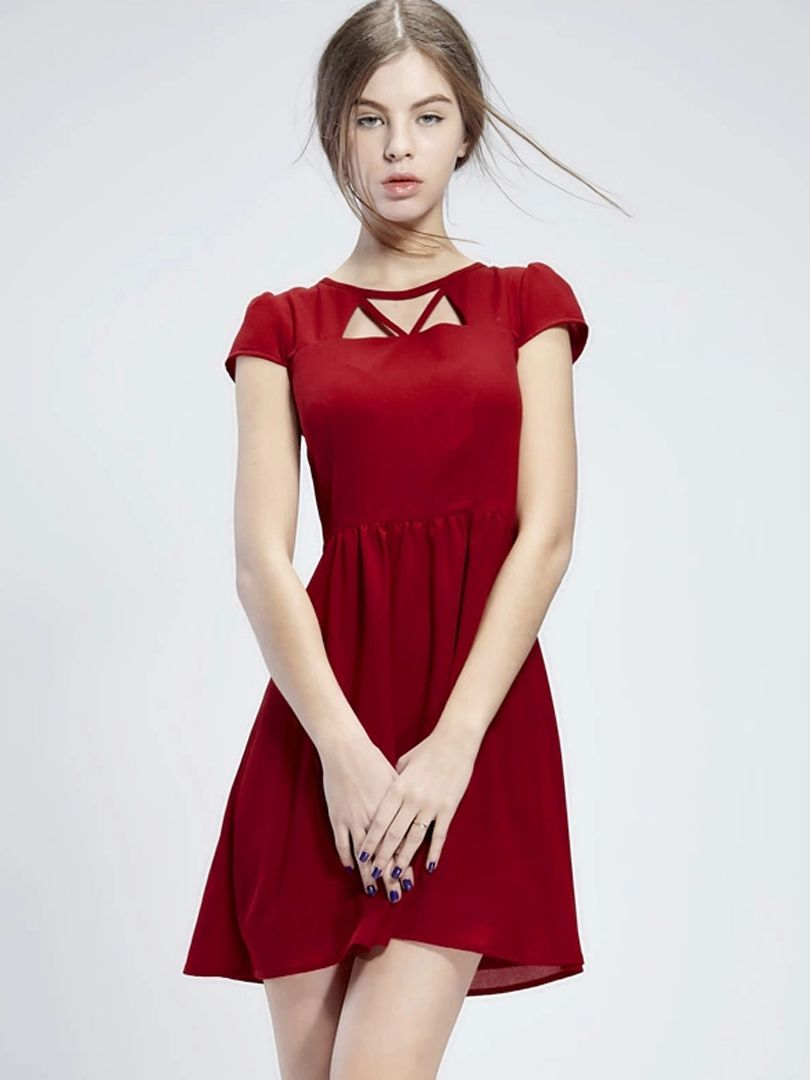 Red cut out skater dress choies style me pretty pinterest