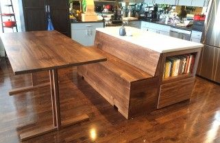 Custom Kitchen Island With Bench Attached And Extended Detachable Table Bay Area Furniture