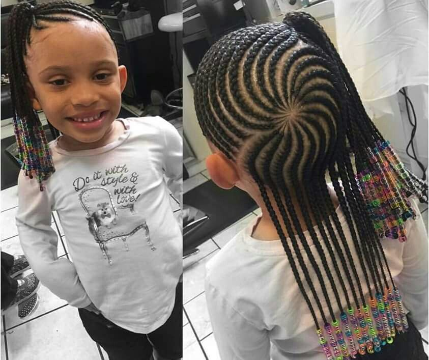 Cornrowed Half Up Half Down Kids Cornrow Hairstyles Kid Braid Styles Little Girl Braids
