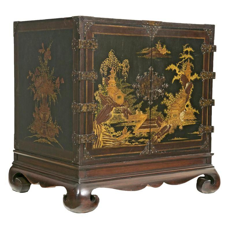 lacquer treasure hunt commode with chinese lacquer panels and english japanning attributed to chippendale