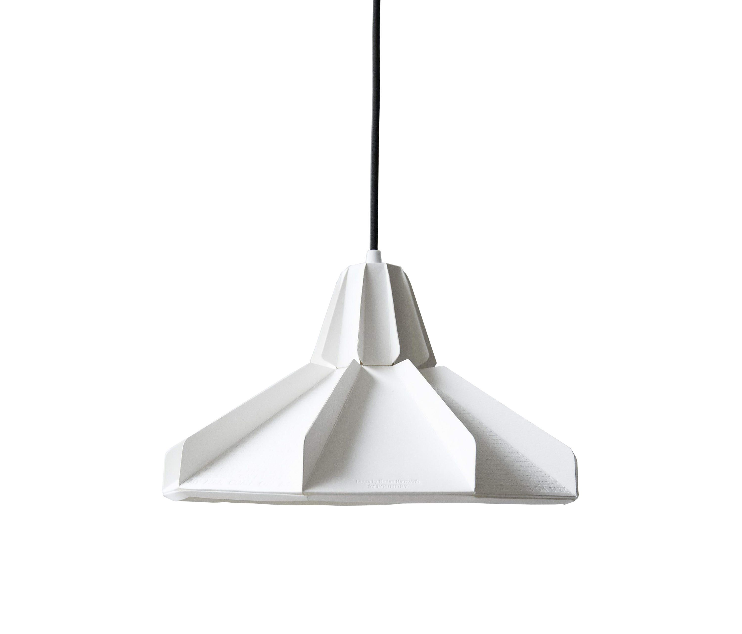 Made entirely out of paper the pendant lamp surrounds the light