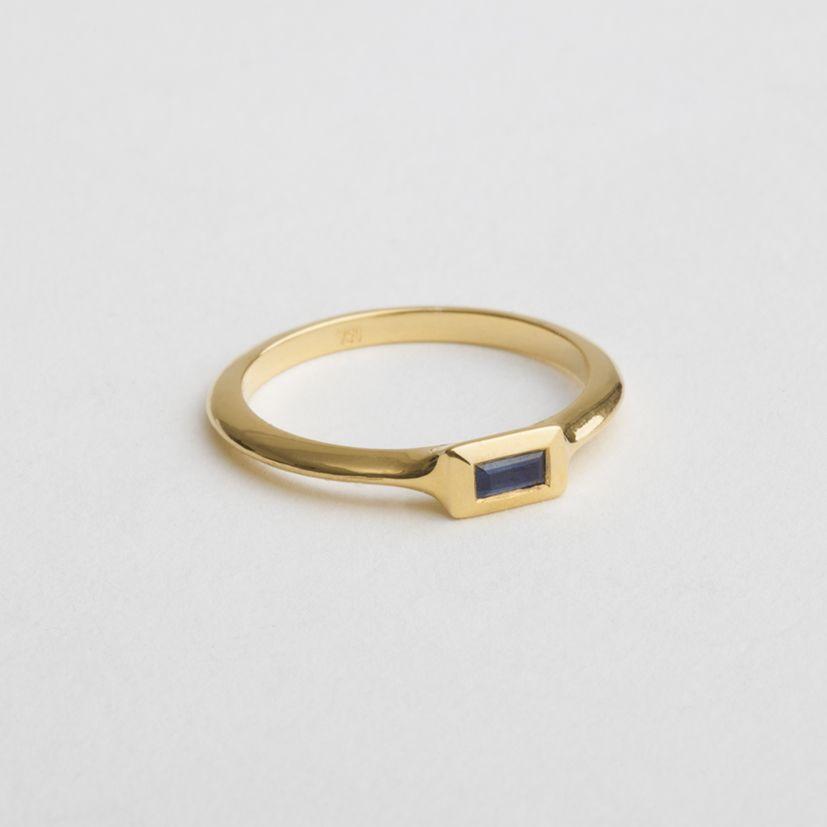 Blue sapphire baguette engagement gold ring | String 14k / 18k gold ring | women's ing | custom size | Berman Designers