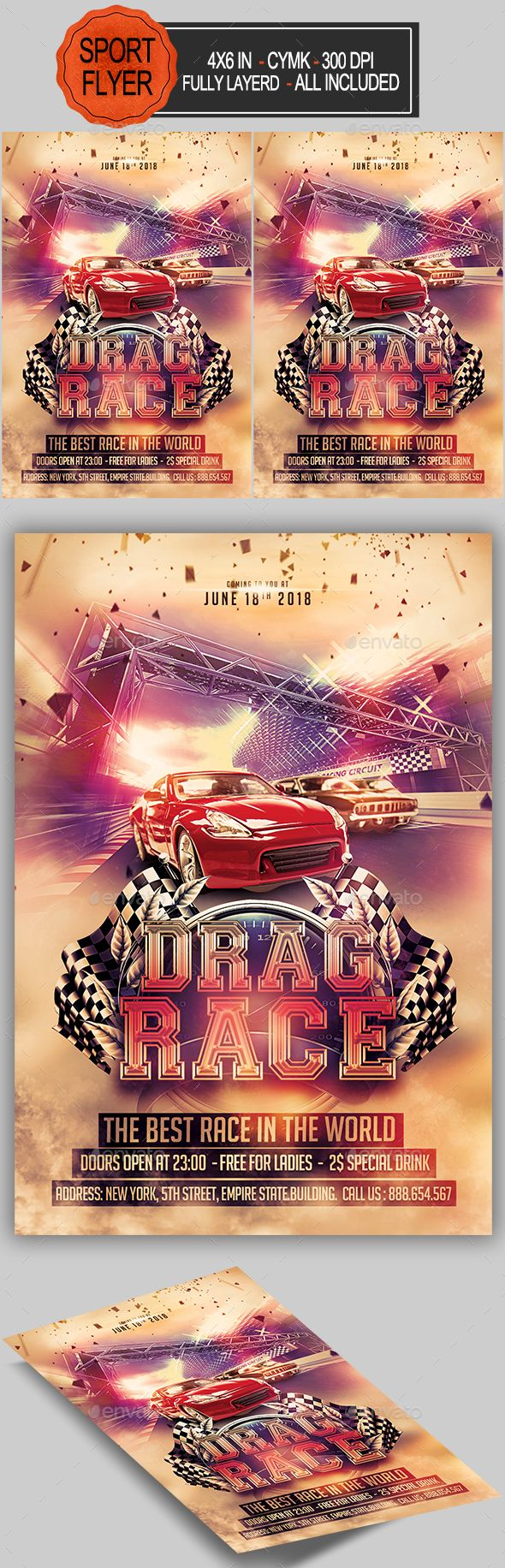 Drag Race Flyer — Photoshop PSD #red car #4x6 • Download ➝ https ...