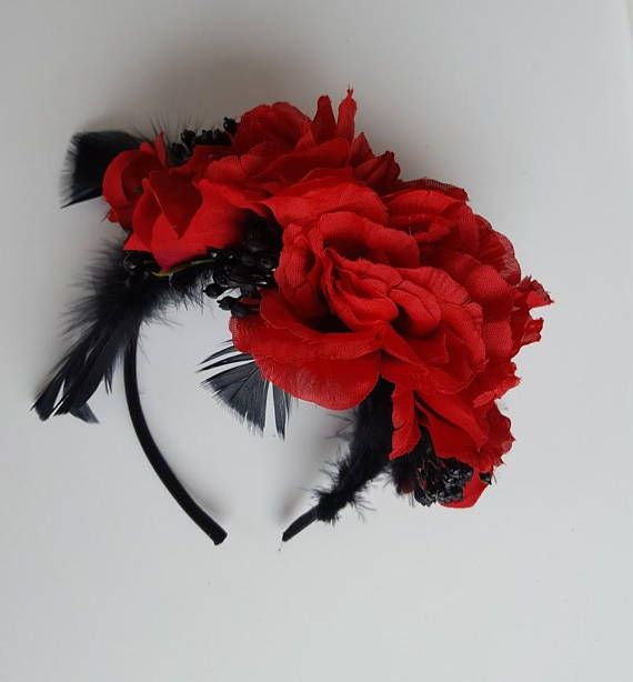 Spring Racing Floral Headband Red Roses with Black Berries &