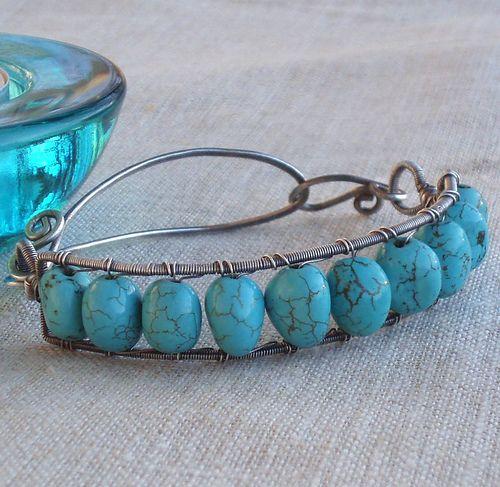 Turqoise and Silver bracelet | by Anna-Karin Hallström