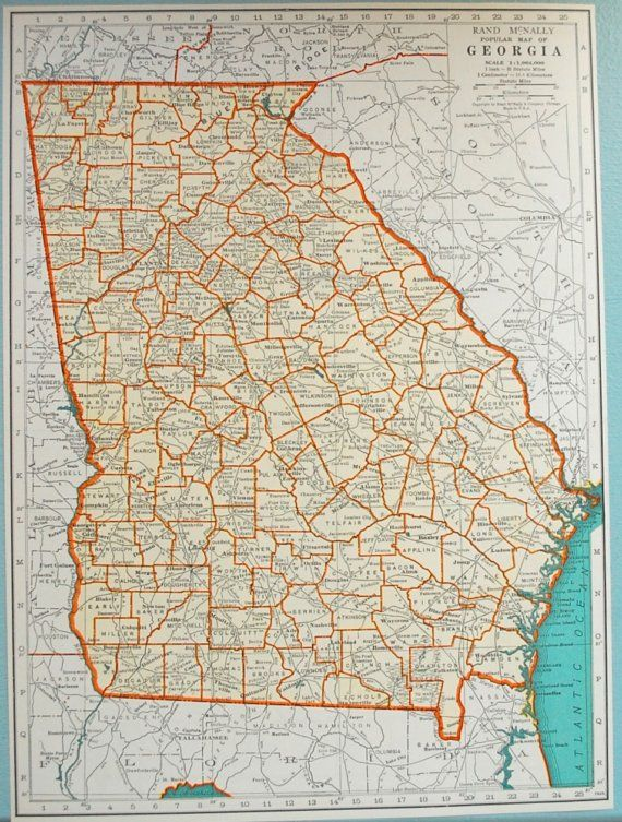 Map Of Georgia For Kids.1937 Vintage Map Of Georgia Georgia Vintage Map Vintage Georgia