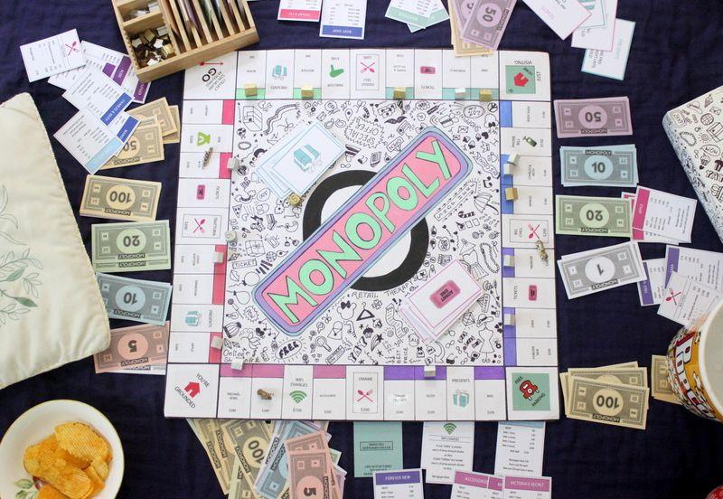 DIY Personalised Monopoly Board Game Homemade board