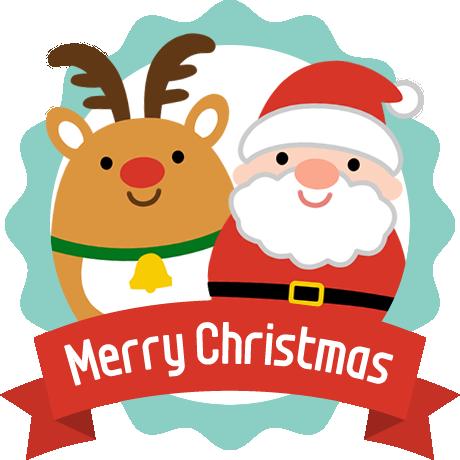 可愛いトナカイとサンタクロースのメダルアイコン クリスマス イラスト かわいい サンタクロース イラスト かわいい サンタクロース イラスト