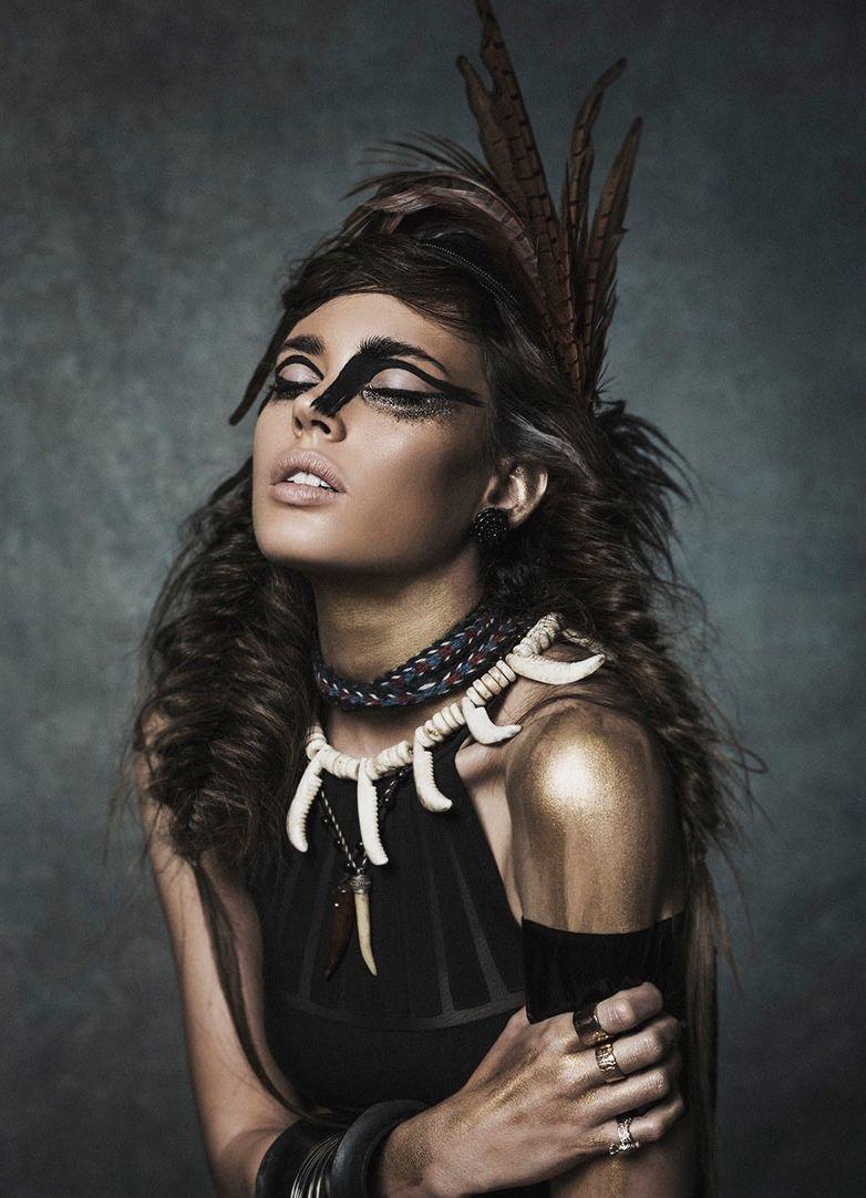 Wild Glam Indianer Gesichtsbemalung Tribal Mode Gesicht