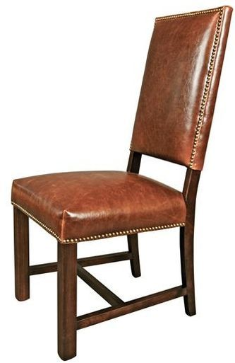 New Pair Brown Leather Dining Side Chairs Wood Hand Crafted Nailhead Trim Leather Dining Chairs Dining Chairs Rustic Leather Chairs