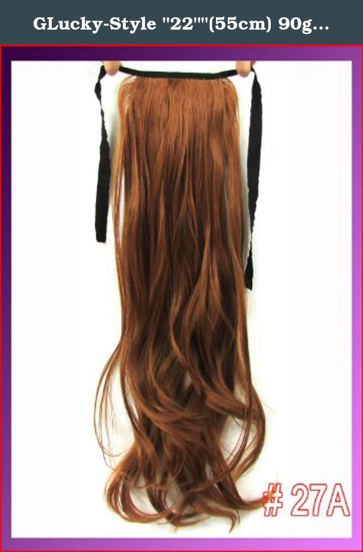 "GLucky-Style ""22""""(55cm) 90g body wave ribbon ponytail hairpiece hair pieces clip in hair extensions color #27A Light Red Brown"". 22""(55cm) 90g body wave ribbon ponytail hairpiece hair pieces clip in hair extensions color #27A Light Red Brown."