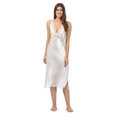the collection ivory satin lace trim long nightdress