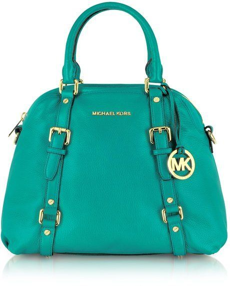 4fef2279f1b212 Michael Kors Bedford Genuine Leather Bowling Satchel Bag in Blue (aqua) |  Lyst