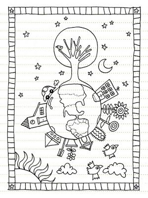 Geninne's Art Blog: February 2007   Earth day coloring ...